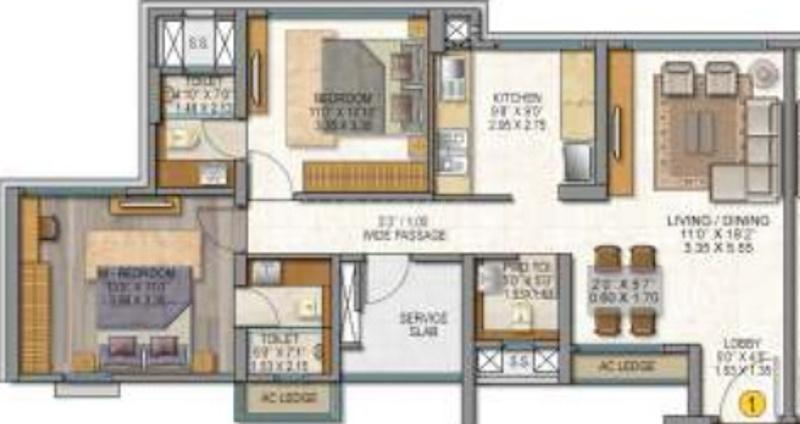 Sheth Auris Serenity Tower 2 Floor Plan: 2 BHK Unit with Built up area of 799 sq.ft 1