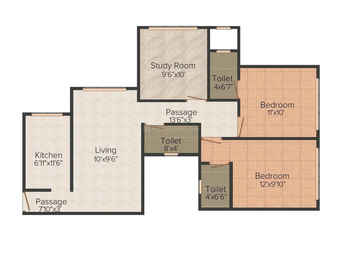 Floor Plan Image of 0 - 1250 Sq.ft 3 BHK Apartment for buy in Kavya Shree Laxmi
