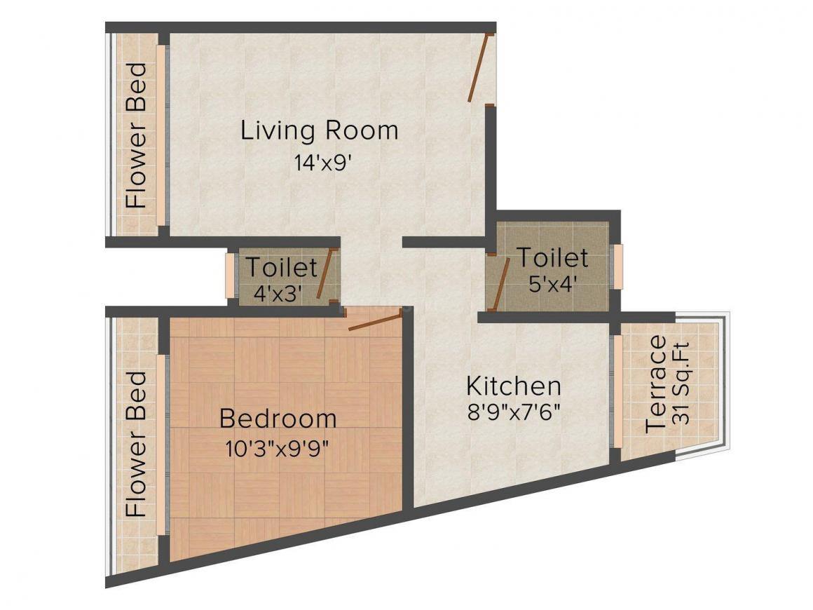 Floor Plan Image of 0 - 480.0 Sq.ft 1 BHK Apartment for buy in Square Feet Sai Shradha
