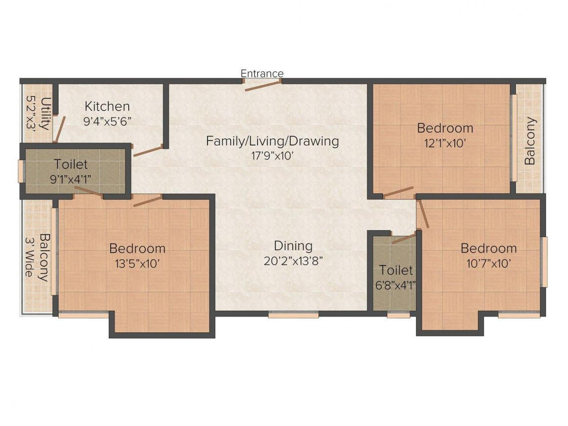 Floor Plan Image of 0 - 1265.0 Sq.ft 3 BHK Apartment for buy in Hi Rise Apartment Makers Tolly Towers