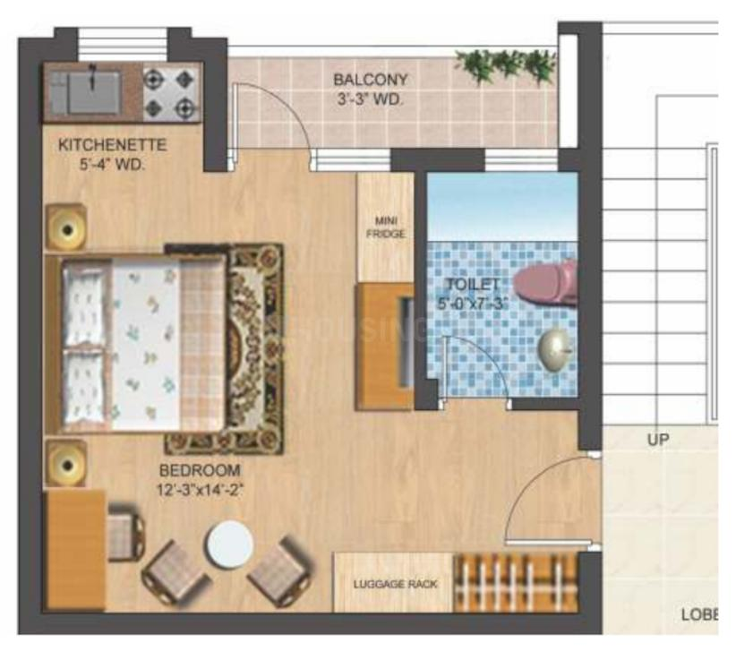 Omaxe Eternity Floor Plan: 1 BHK Unit with Built up area of 435 sq.ft 2