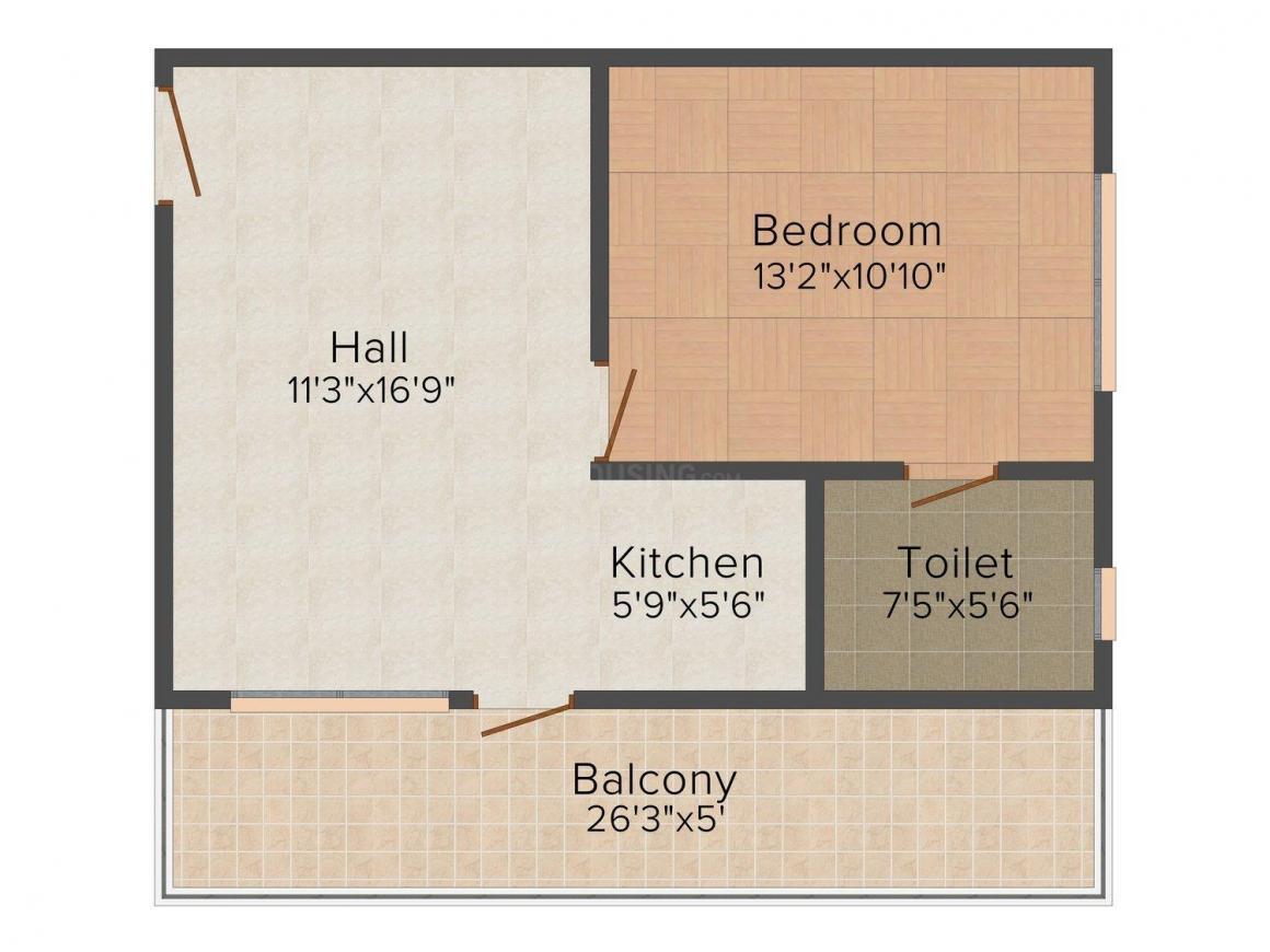 Floor Plan Image of 743.0 - 1130.0 Sq.ft 1 BHK Apartment for buy in Manglam's Aqua Grandiosa