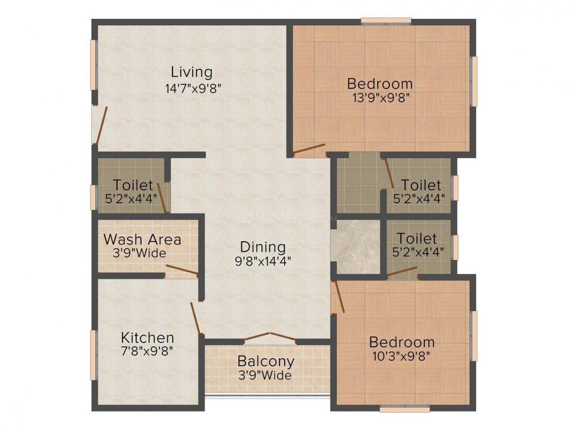 Kopak R M Co Tower Floor Plan: 2 BHK Unit with Built up area of 1299 sq.ft 1