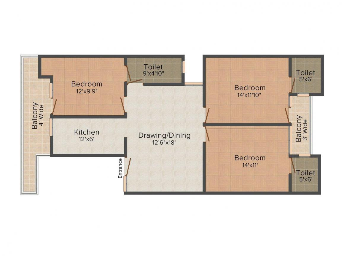 Heritage Homes - 2 Floor Plan: 3 BHK Unit with Built up area of 1485 sq.ft 1