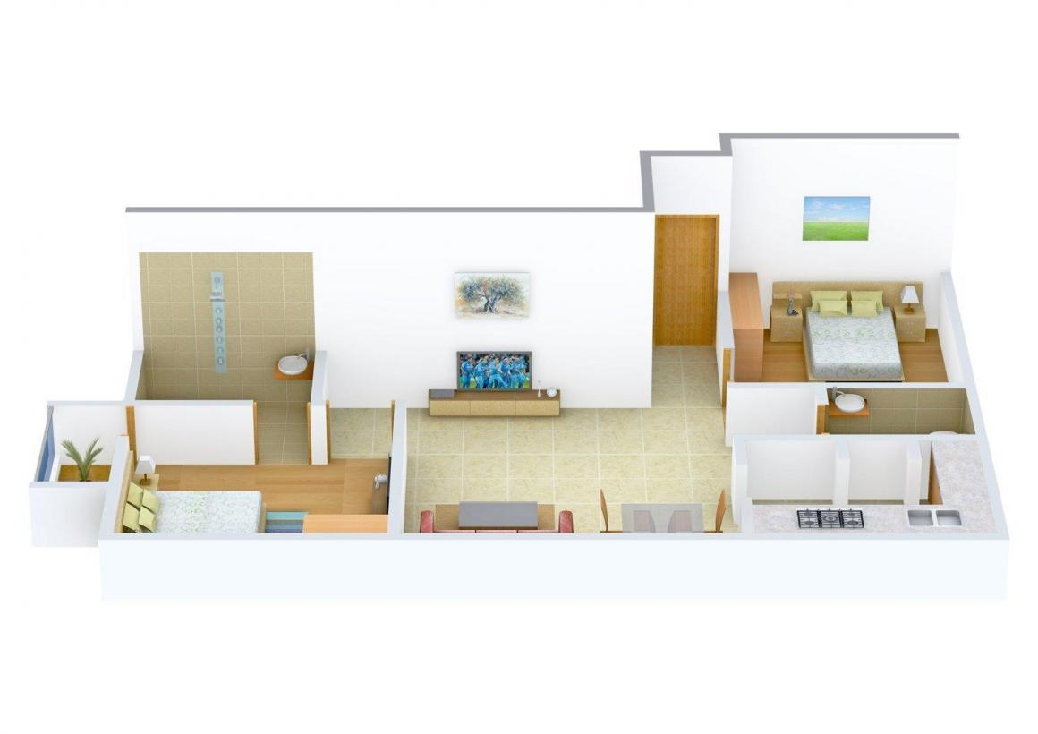 Floor Plan Image of 0 - 803.0 Sq.ft 2 BHK Villa for buy in Sai Pooja Avenue