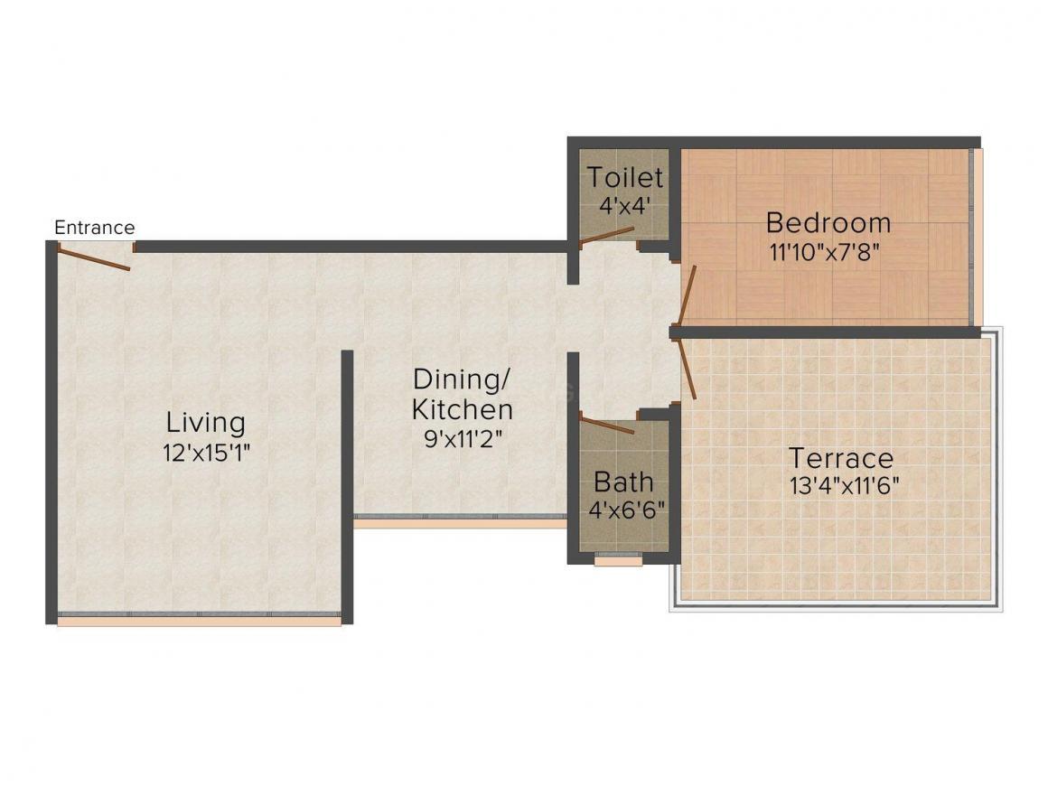 Floor Plan Image of 0 - 720 Sq.ft 1 BHK Apartment for buy in Sonal Niranjan Park