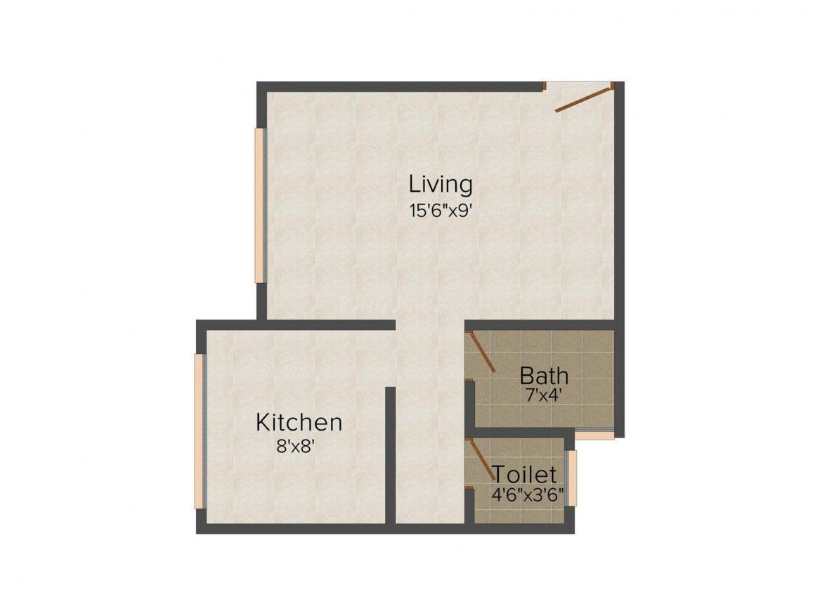Singhaal The Abberly Crest Floor Plan: 1 BHK Unit with Built up area of 395 sq.ft 1