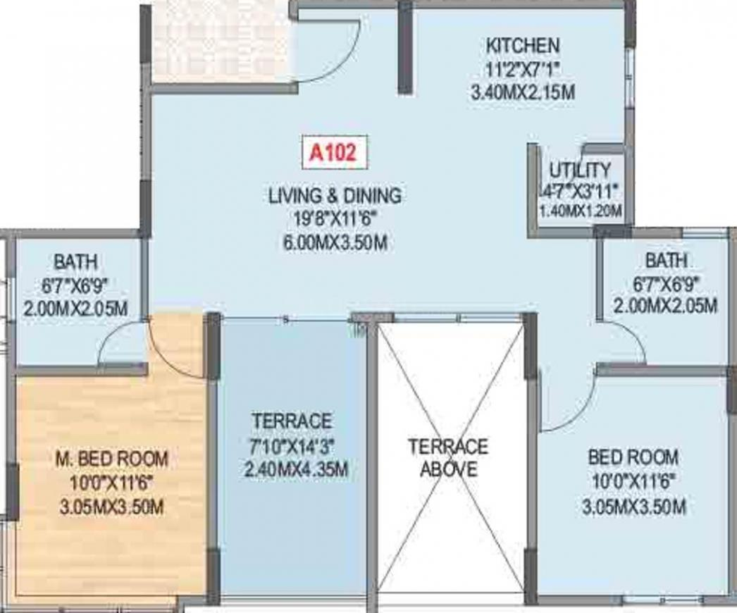 Geras Misty Waters Floor Plan: 2 BHK Unit with Built up area of 597 sq.ft 1
