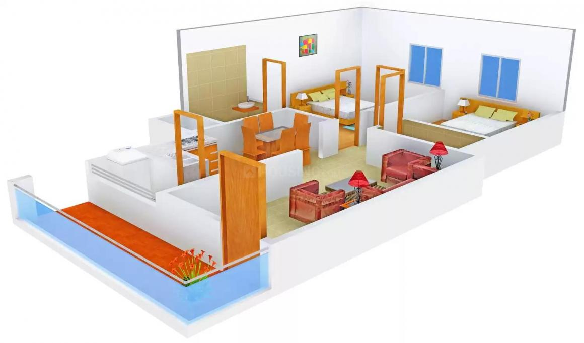 Floor Plan Image of 1050.0 - 1180.0 Sq.ft 2 BHK Apartment for buy in Harikrishna Sarada Palace