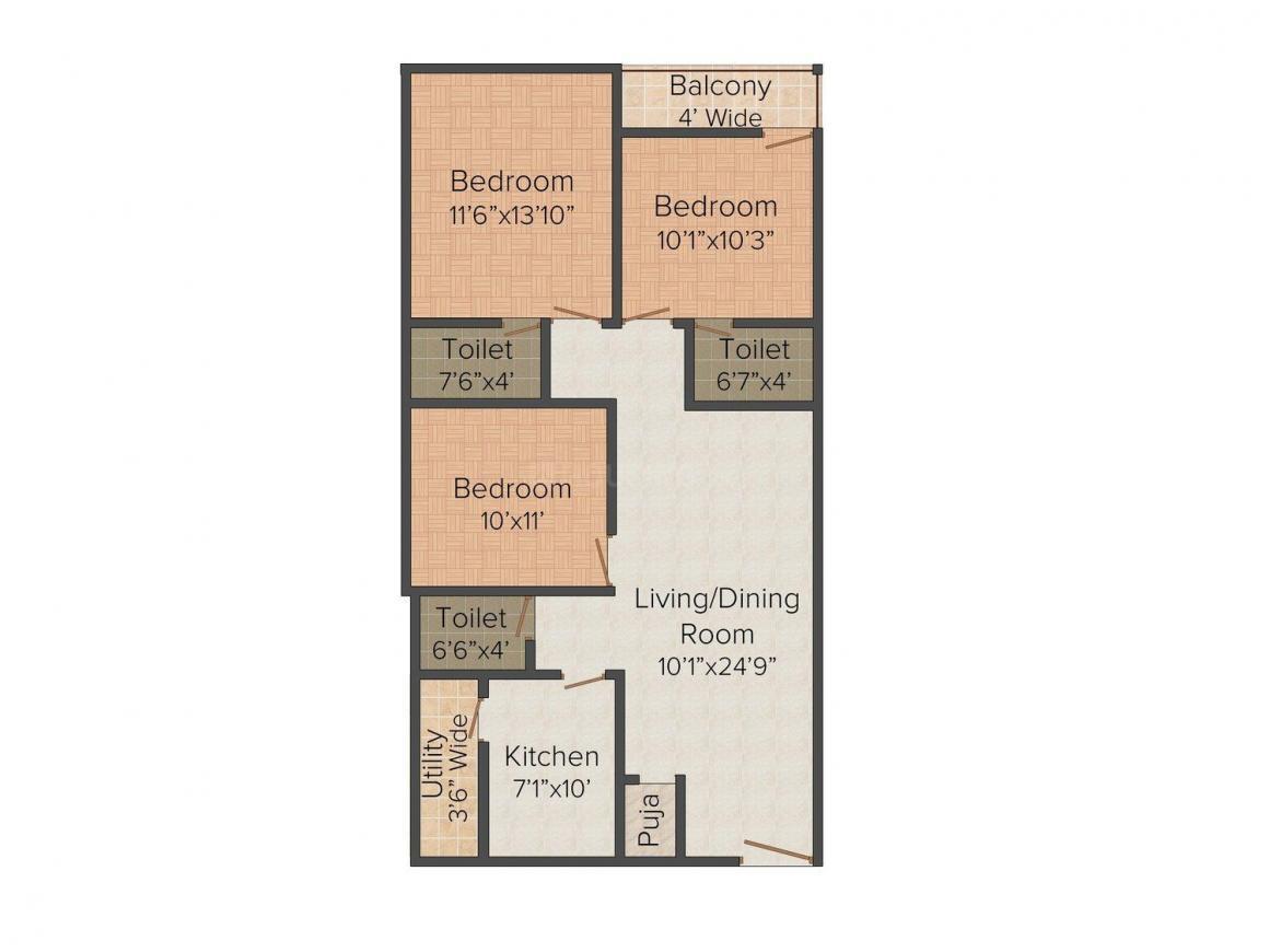 Vaishnavi Aditya Pride Floor Plan: 3 BHK Unit with Built up area of 1309 sq.ft 1
