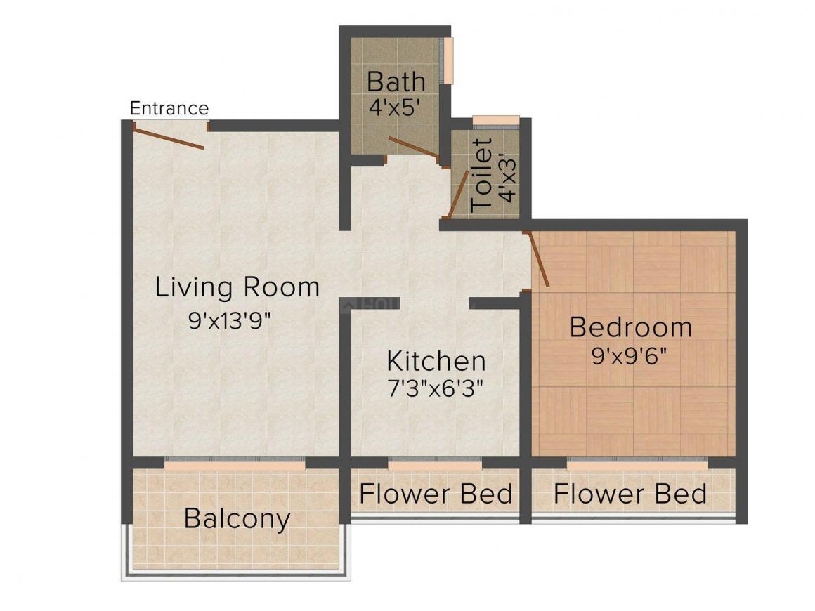 Floor Plan Image of 650.0 - 1065.0 Sq.ft 1 BHK Apartment for buy in Devkrupa Rachana Residency