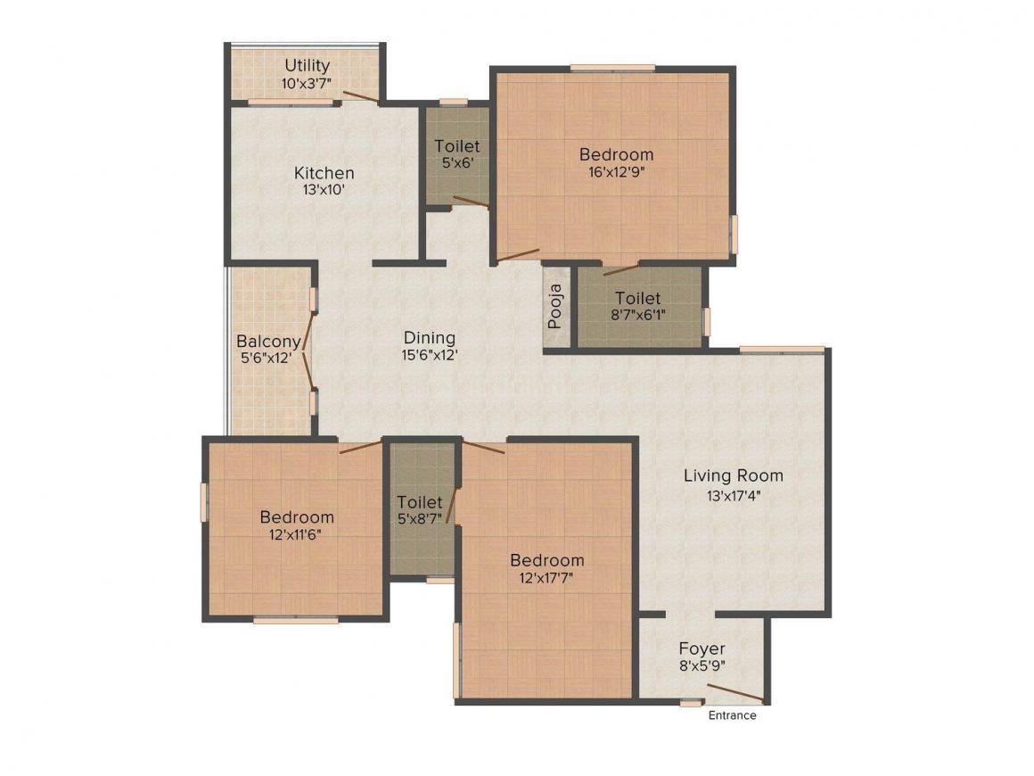 Floor Plan Image of 1970 - 2089 Sq.ft 3 BHK Apartment for buy in Mayflower Eden Valley