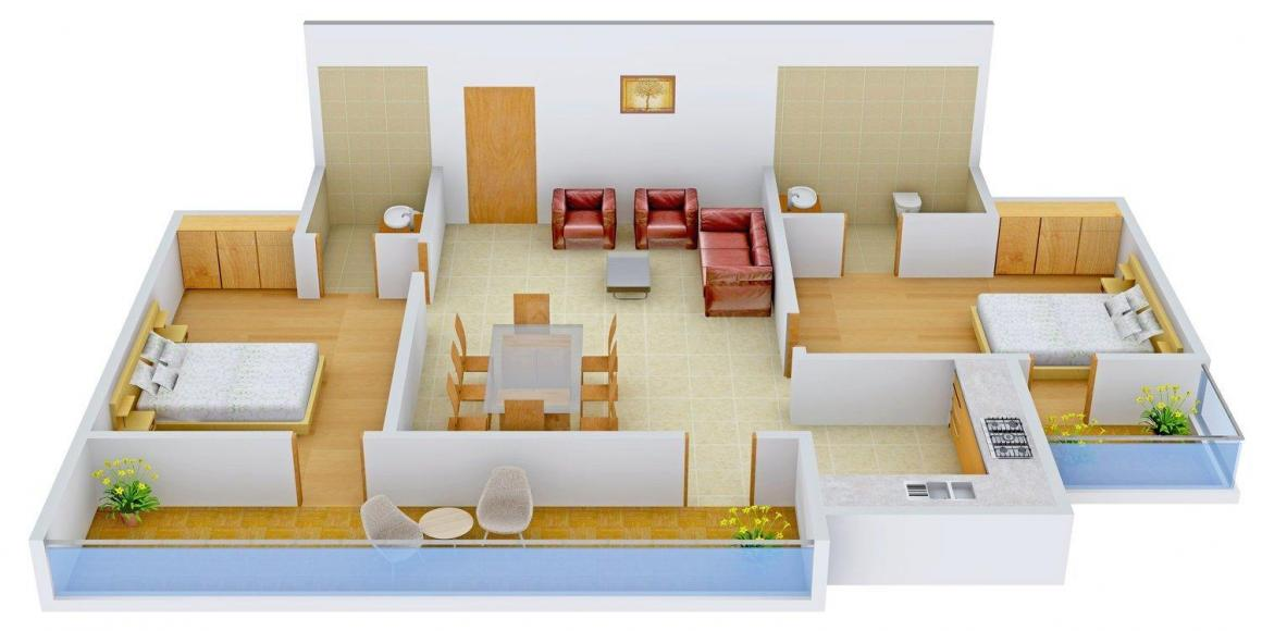 Floor Plan Image of 1050 - 2500 Sq.ft 2 BHK Apartment for buy in Colors Krisha Heights