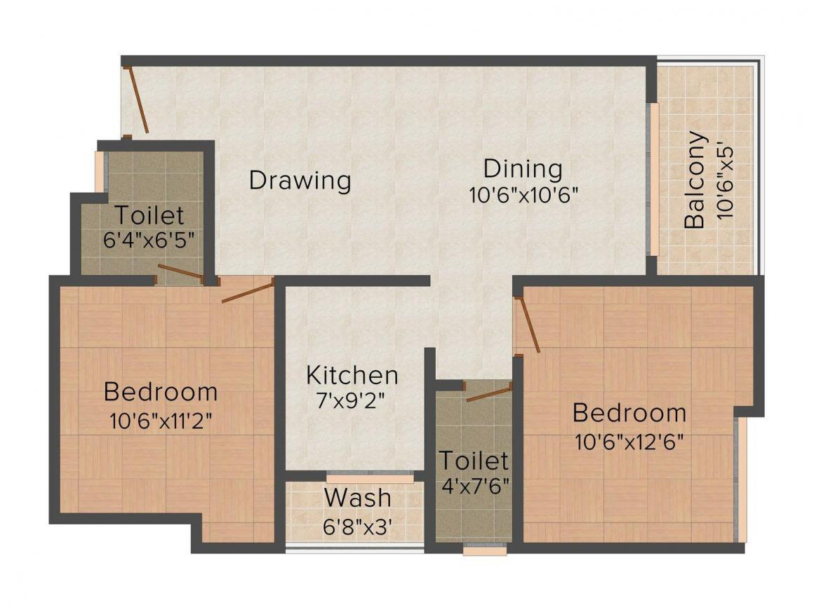 Floor Plan Image of 1023.0 - 1971.0 Sq.ft 2 BHK Apartment for buy in D Lunia Nishdin Aura