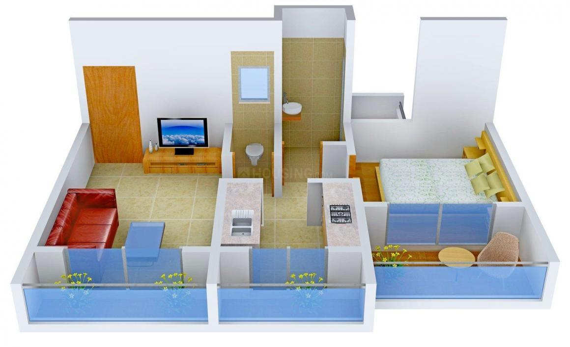 Shubh Dev Ashirwad Floor Plan: 1 BHK Unit with Built up area of 681 sq.ft 1