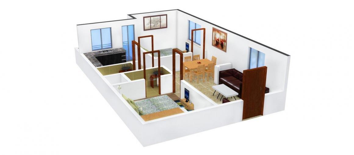 Cherukuri Vijay Vihar-1 Floor Plan: 2 BHK Unit with Built up area of 930 sq.ft 1