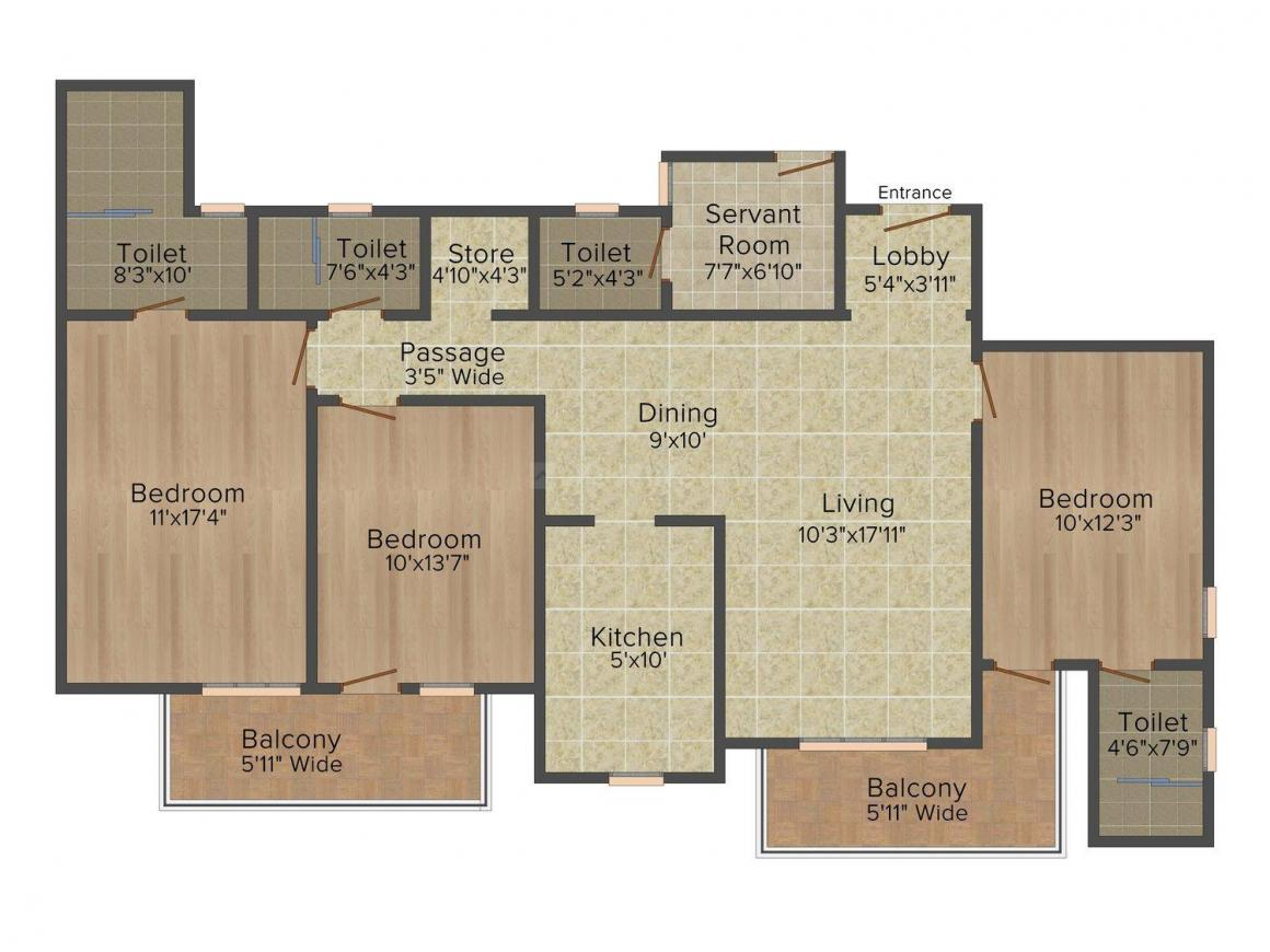DLF Express Greens Floor Plan: 3 BHK Unit with Built up area of 1845 sq.ft 1