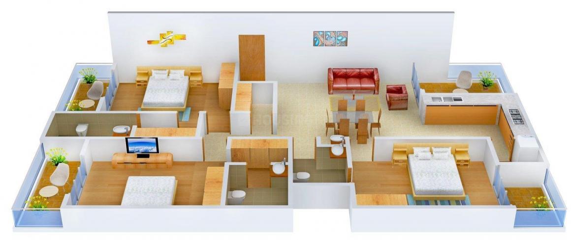 S K Khetan Srajan Floor Plan: 3 BHK Unit with Built up area of 2228 sq.ft 1