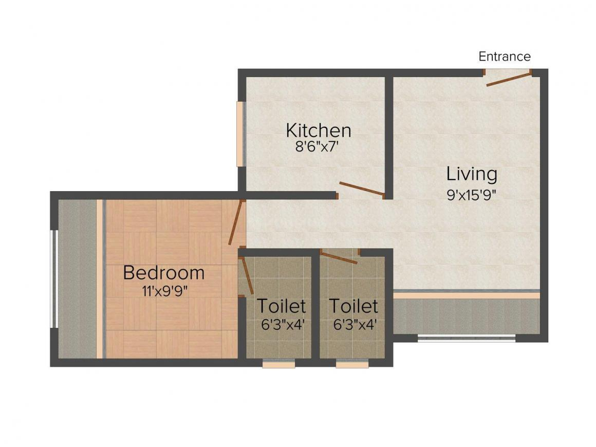 Floor Plan Image of 610.0 - 635.0 Sq.ft 1 BHK Apartment for buy in R.N. Enterprises Ideal City Building No. 2