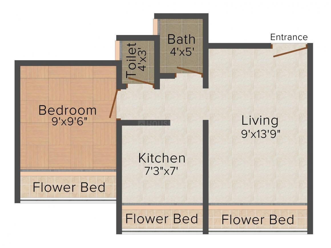 Floor Plan Image of 0 - 615.0 Sq.ft 1 BHK Apartment for buy in Sairaj Darshan