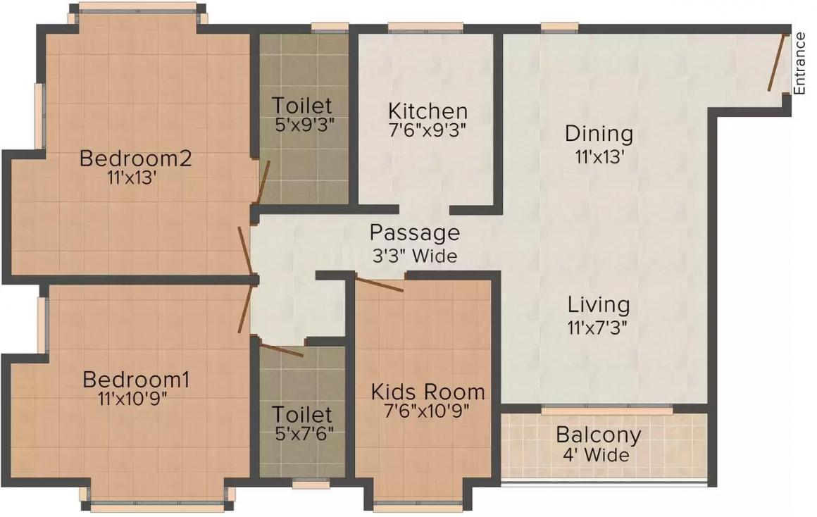 Archi The Orbit Bhupalura Floor Plan: 3 BHK Unit with Built up area of 1400 sq.ft 1