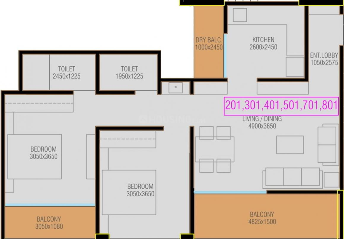 Floor Plan Image of 665.96 - 939.15 Sq.ft 2 BHK Apartment for buy in Mantra 99 Riverfront