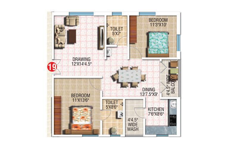 Vishnu Krupa Golden Oriole Floor Plan: 2 BHK Unit with Built up area of 1144 sq.ft 1