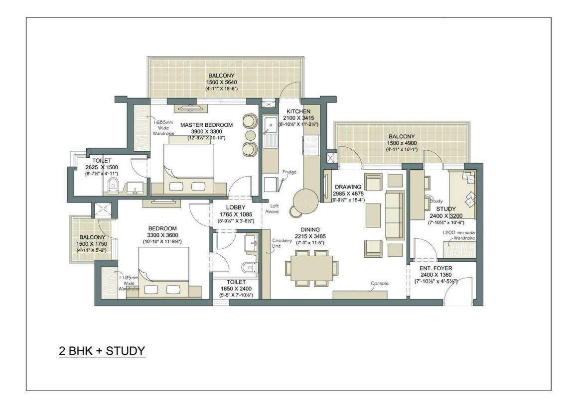 Microtek Greenburg Floor Plan: 2 BHK Unit with Built up area of 1480 sq.ft 1