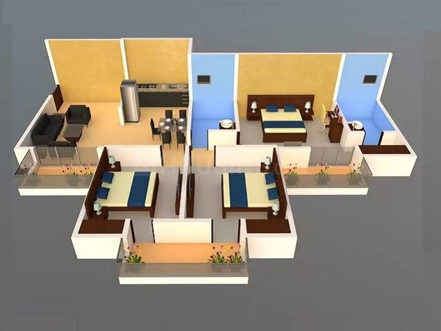 Panchsheel Pratishtha Floor Plan: 3 BHK Unit with Built up area of 1495 sq.ft 1