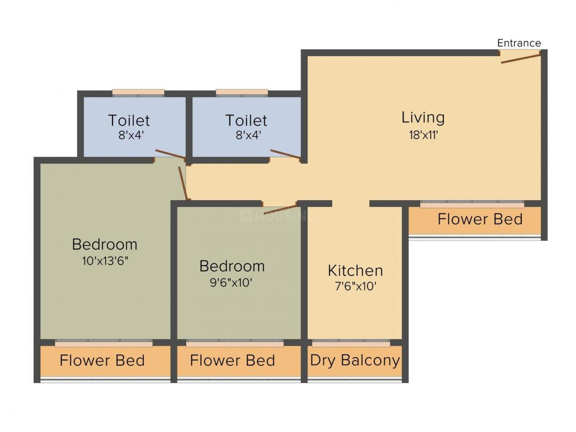 Floor Plan Image of 955.0 - 2025.0 Sq.ft 2 BHK Apartment for buy in PRM Solitaire Castle