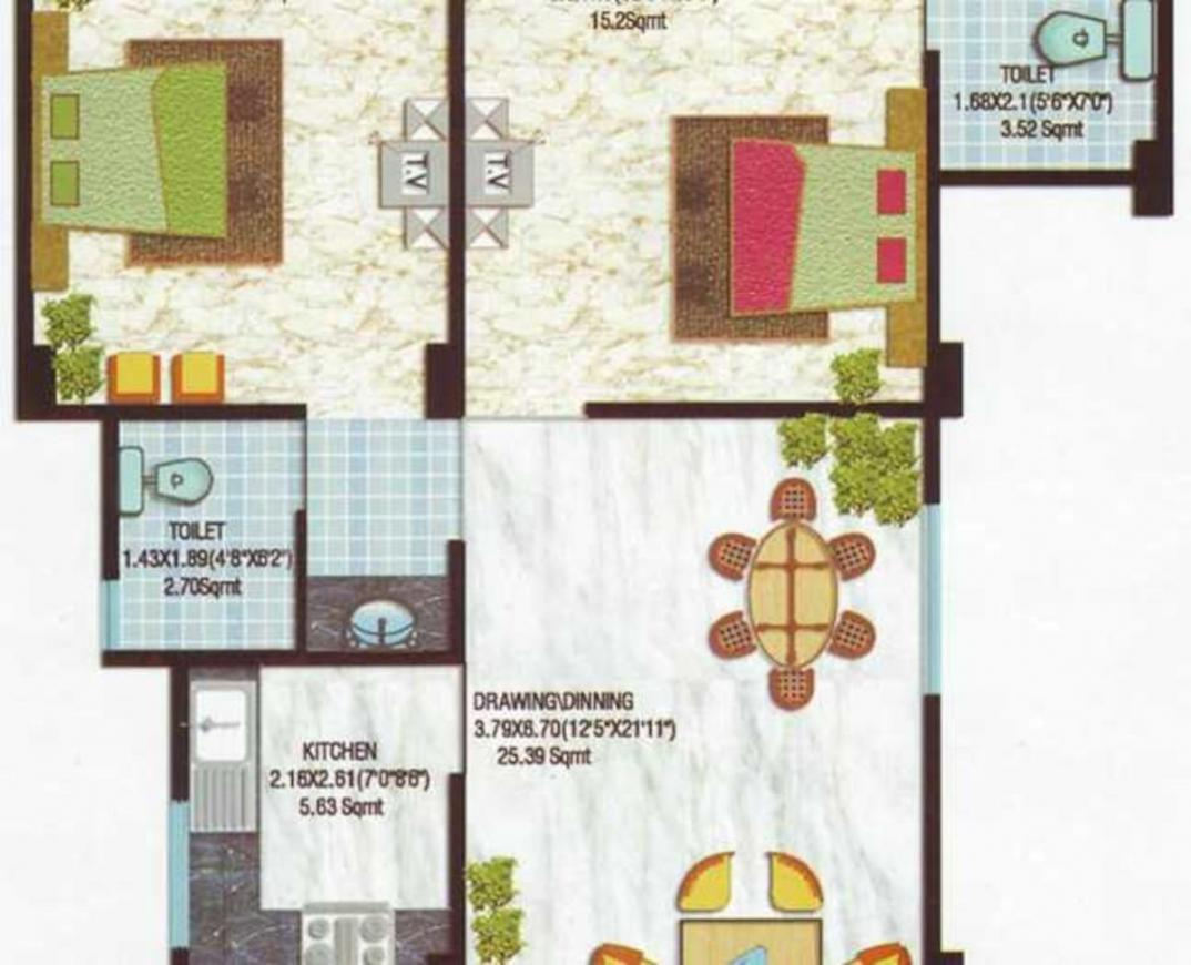 Mahadev Residency 2 Floor Plan: 2 BHK Unit with Built up area of 600 sq.ft 1