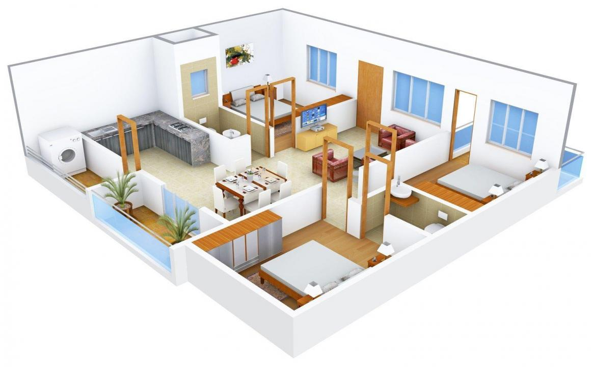 Floor Plan Image of 0 - 1310.0 Sq.ft 3 BHK Apartment for buy in DSMAX SPENCER