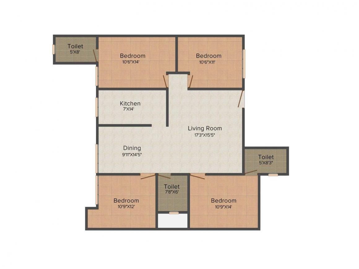 Sharma Builder Floor-4 Floor Plan: 4 BHK Unit with Built up area of 4000 sq.ft 1