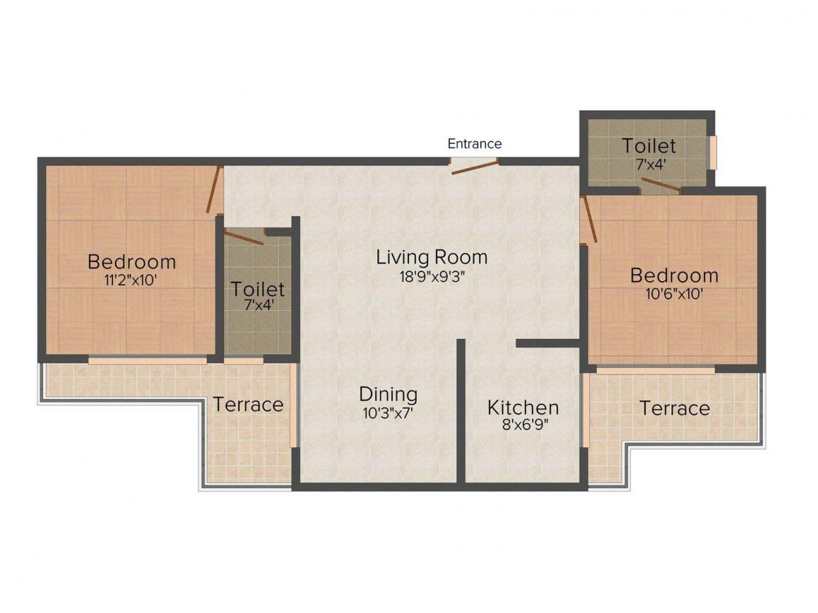 Floor Plan Image of 0 - 970.0 Sq.ft 2 BHK Apartment for buy in Hi-Tech Raj Planet