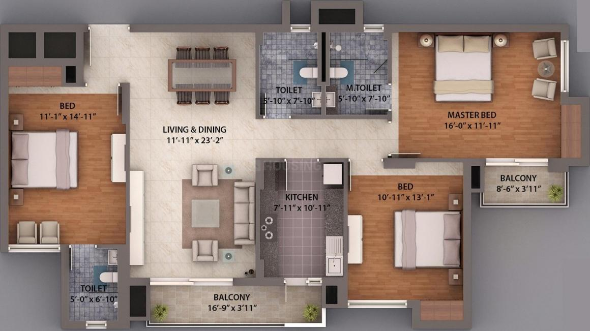 Umang Winter Hills Floor Plan: 3 BHK Unit with Built up area of 1843 sq.ft 1