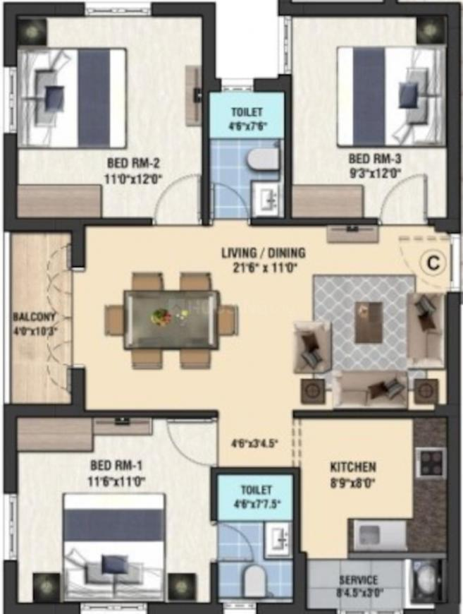 Innovative Adyar Apartment Floor Plan: 2 BHK Unit with Built up area of 1154 sq.ft 1