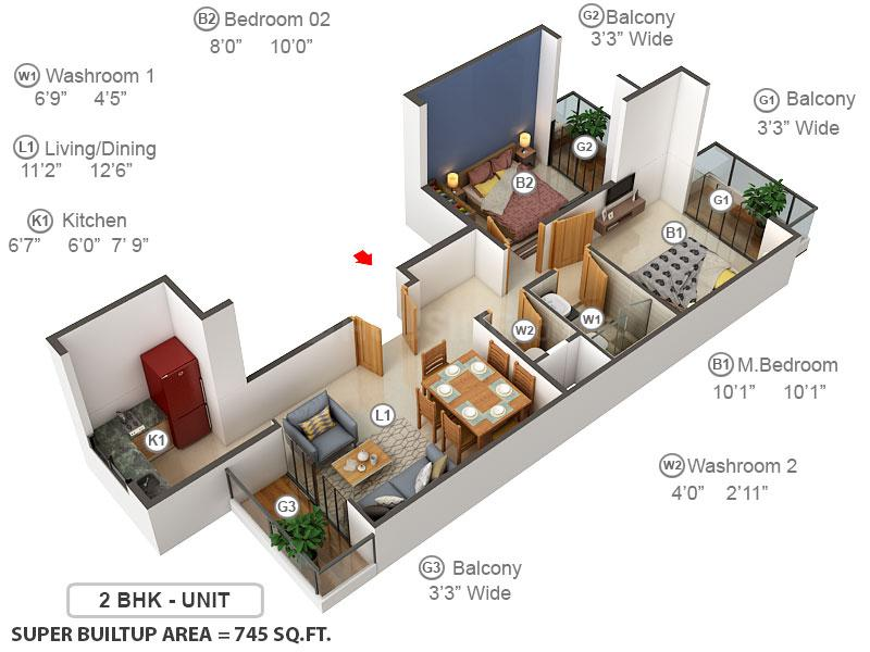 Signature Global Park Floor Plan: 2 BHK Unit with Built up area of 746 sq.ft 1