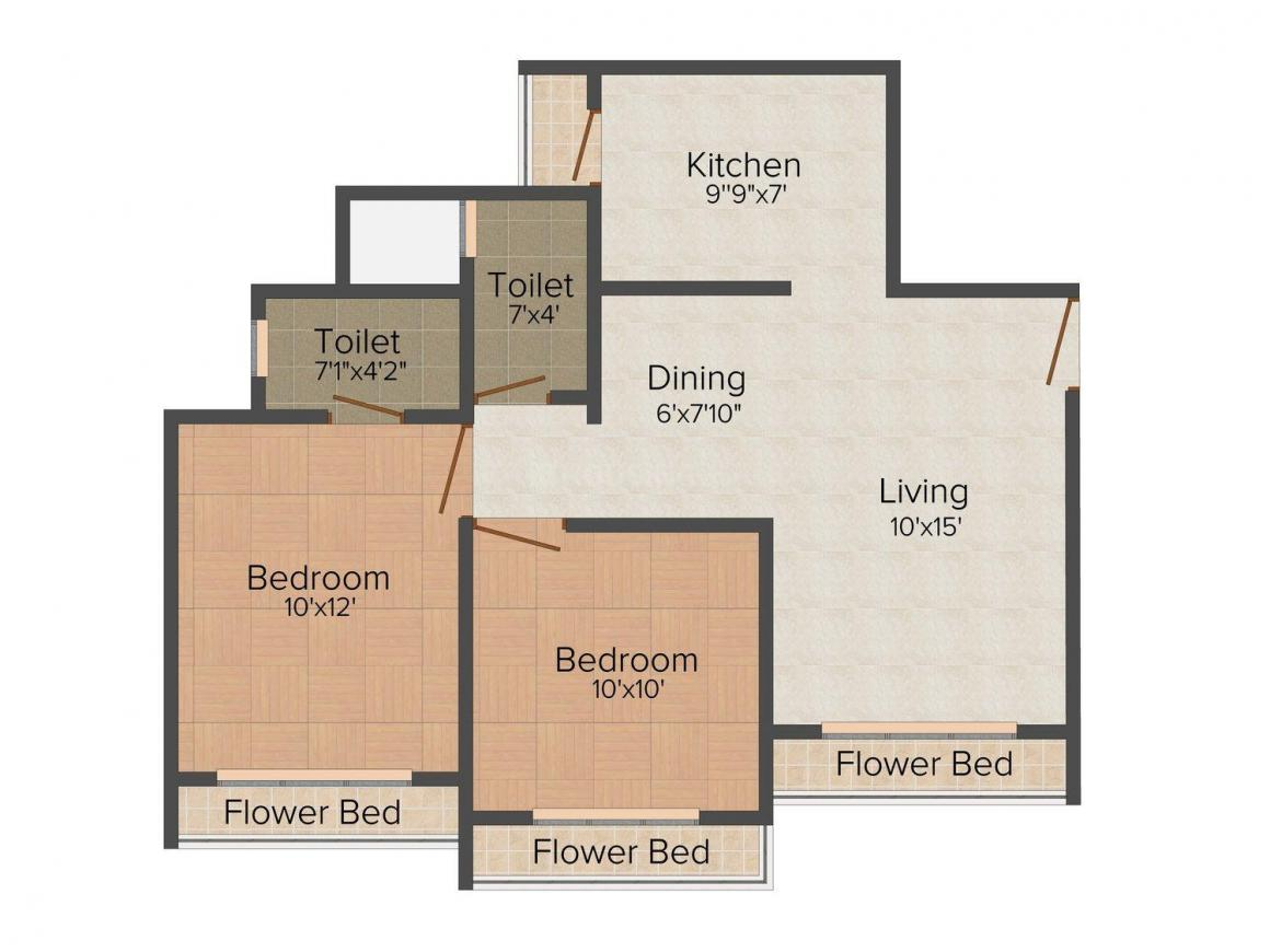Floor Plan Image of 0 - 693.0 Sq.ft 2 BHK Apartment for buy in Fortune Heights