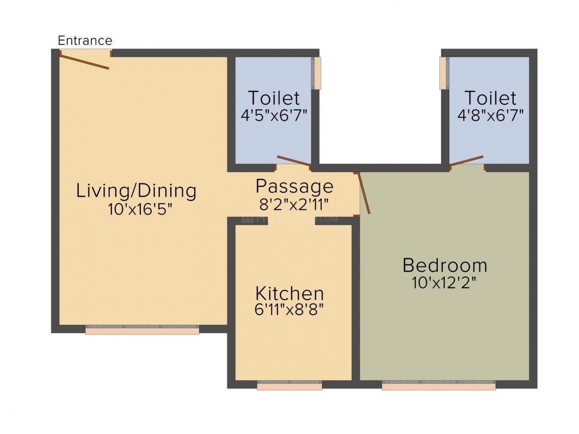 Floor Plan Image of 430.0 - 975.0 Sq.ft 1 BHK Apartment for buy in Right Da Zephyrus