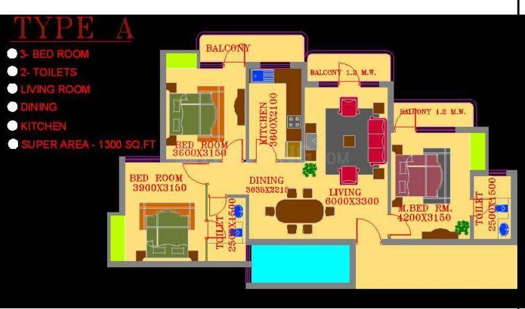 ATS Greens Village Floor Plan: 3 BHK Unit with Built up area of 1300 sq.ft 1