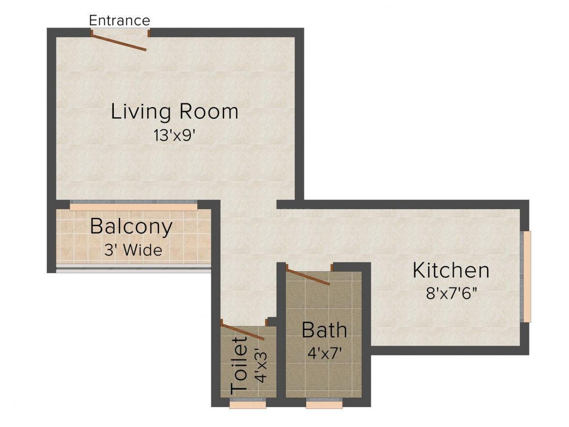 Suraj Omkar Floor Plan: 1 BHK Unit with Built up area of 375 sq.ft 1