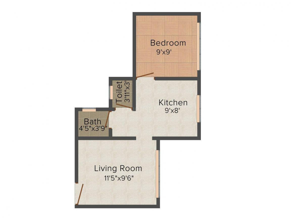 Floor Plan Image of 435.0 - 651.0 Sq.ft 1 BHK Apartment for buy in Viva Swarangan