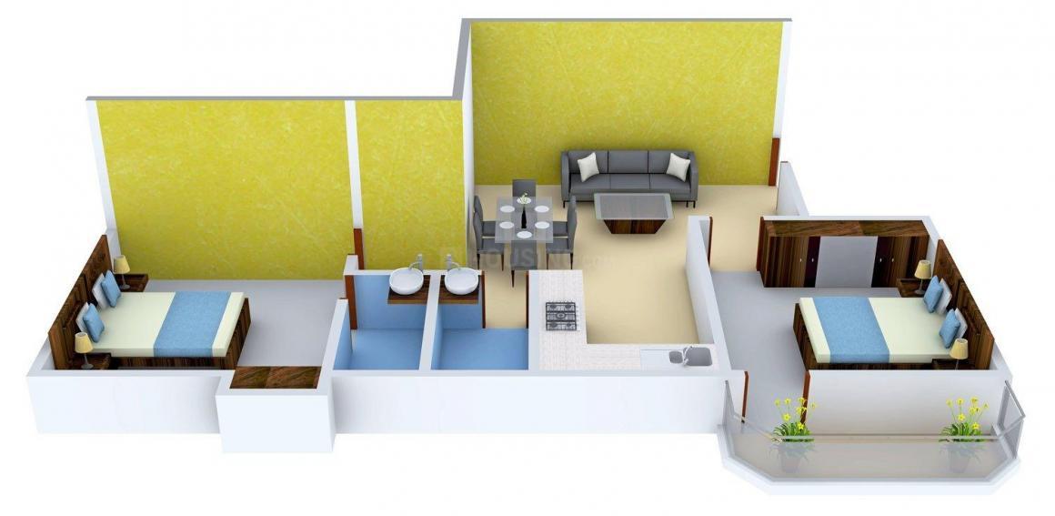 Floor Plan Image of 719.0 - 1858.0 Sq.ft 2 BHK Apartment for buy in Happy Monty Happy Garden