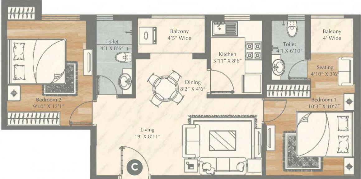 Vinayak Aquasa Floor Plan: 2 BHK Unit with Built up area of 595 sq.ft 1