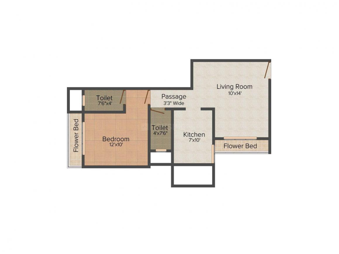 Floor Plan Image of 0 - 447.0 Sq.ft 1 BHK Apartment for buy in Gujrat Annapurna Heights