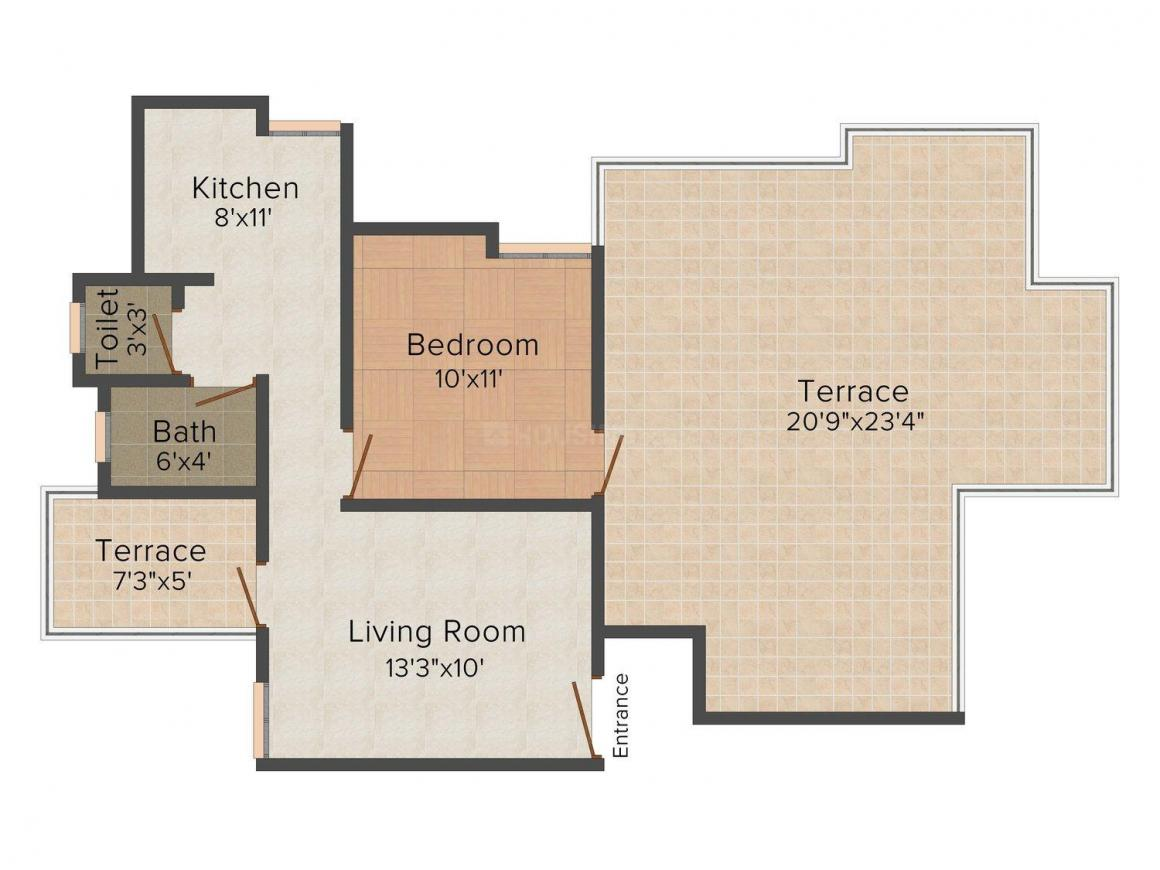 Pentagon Pearl Floor Plan: 1 BHK Unit with Built up area of 1028 sq.ft 1