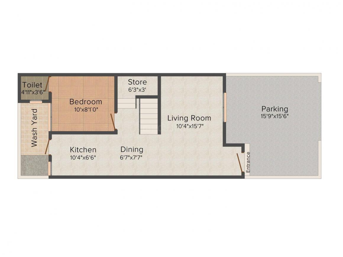 Floor Plan Image of 0 - 823.0 Sq.ft 3 BHK Bungalow for buy in Sheth Parijat Residency