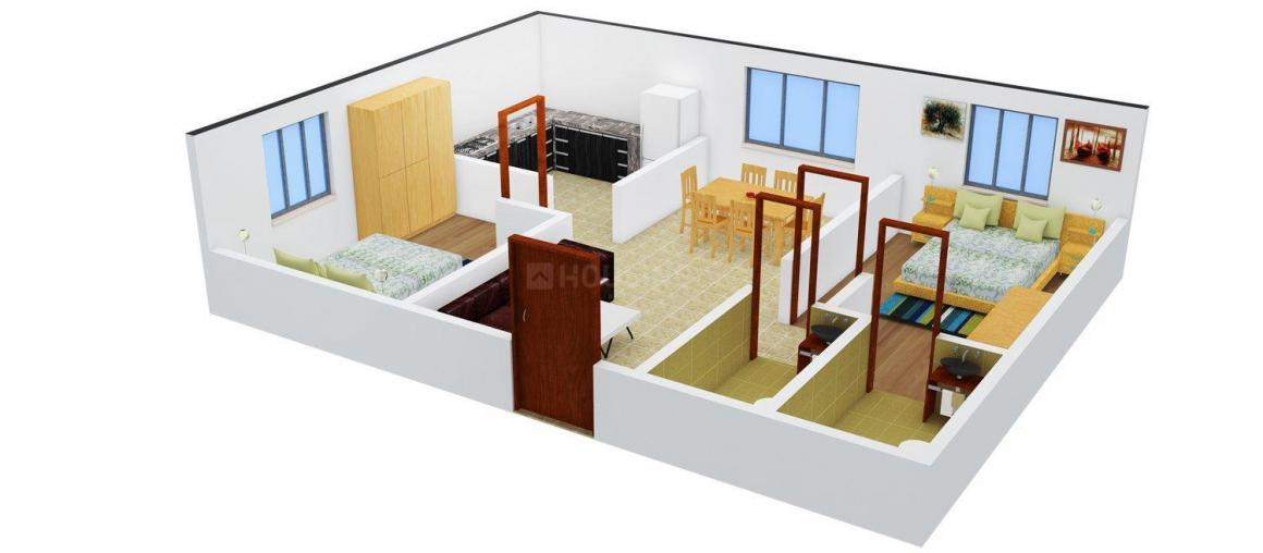 Floor Plan Image of 874.0 - 1048.0 Sq.ft 2 BHK Apartment for buy in MS MM Gokulam