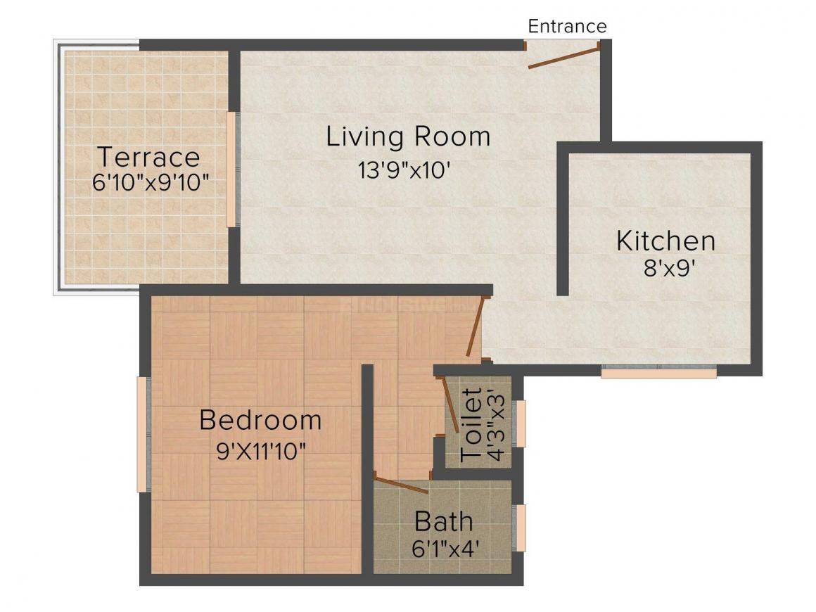 Ashirwad The Living Floor Plan: 1 BHK Unit with Built up area of 637 sq.ft 1