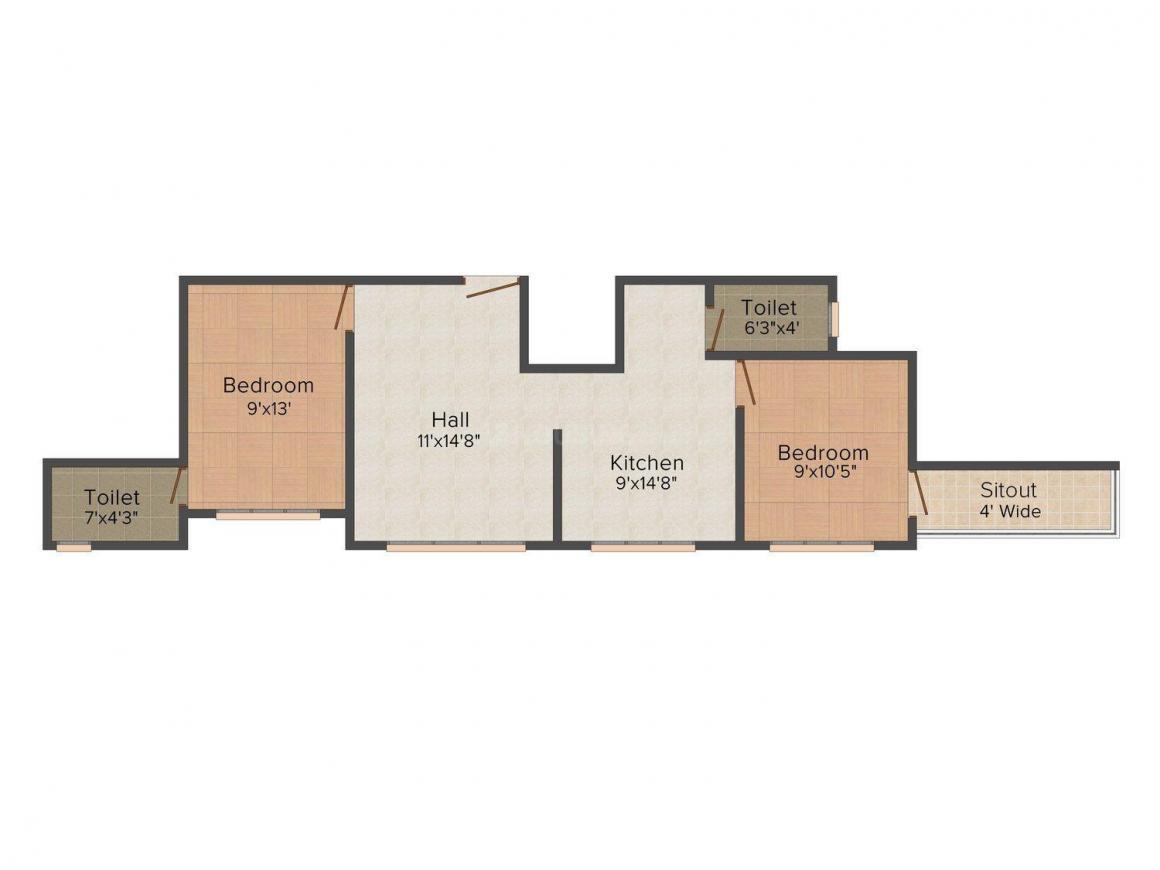 Floor Plan Image of 624.0 - 684.0 Sq.ft 2 BHK Apartment for buy in Nisham Varad